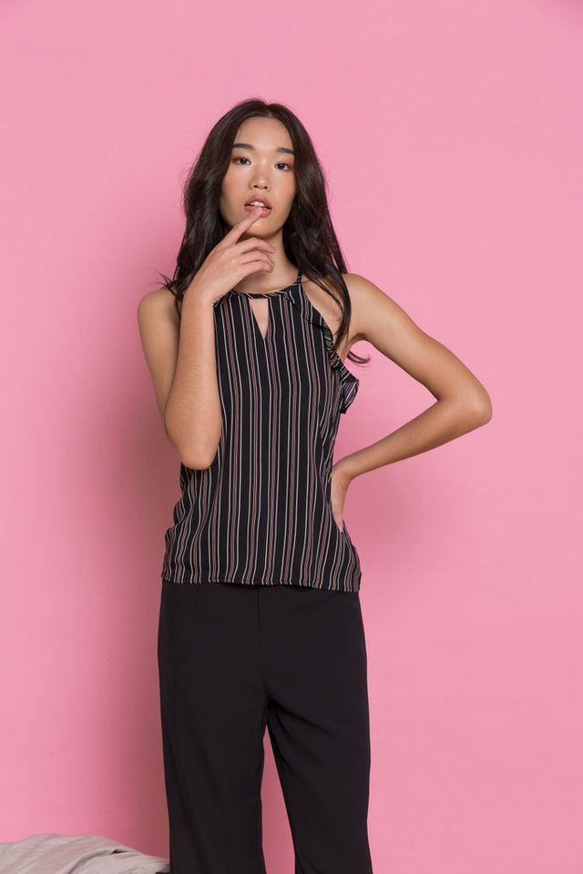 Delicia Pinstripe Halter Top in Black