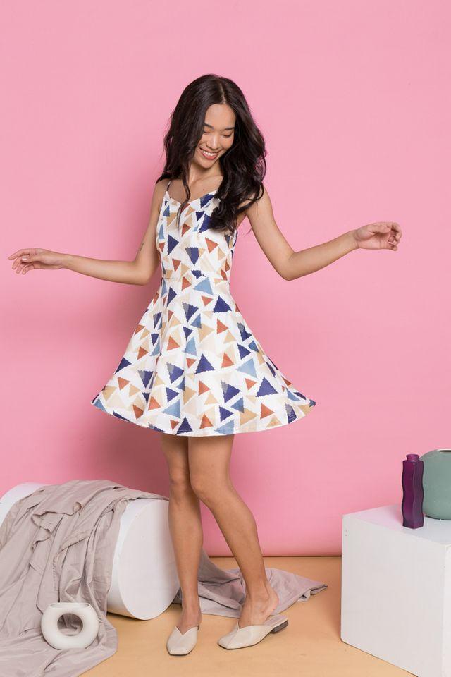 Akelia Triangle Skater Dress in White