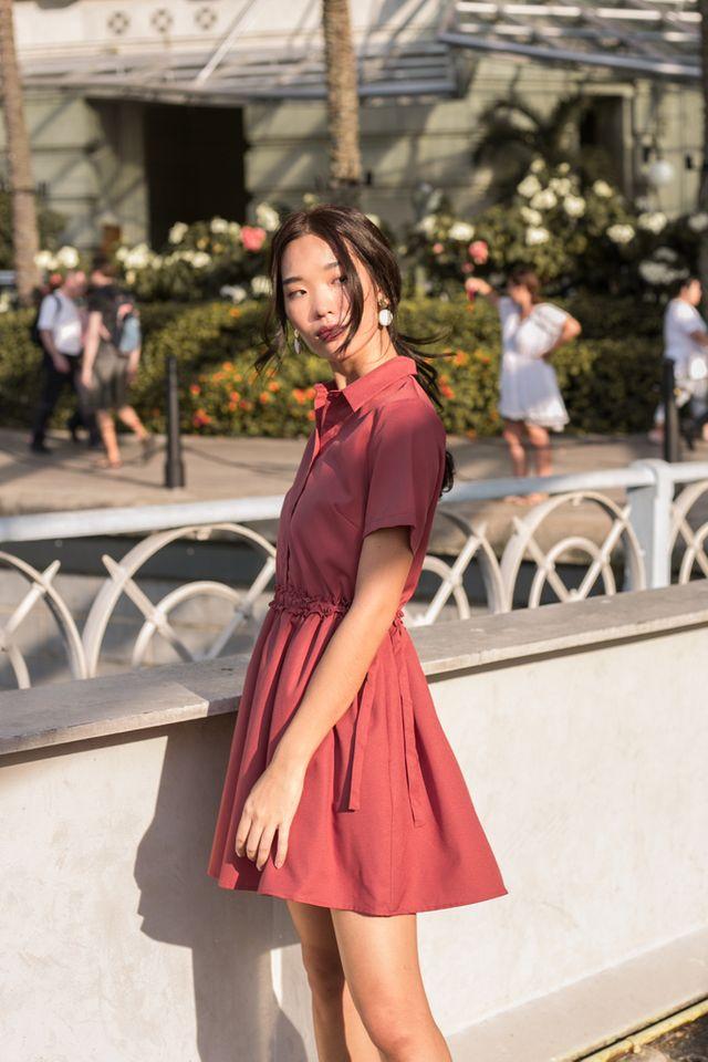 Mireille Ruffles Shirt Dress in Rouge (L)