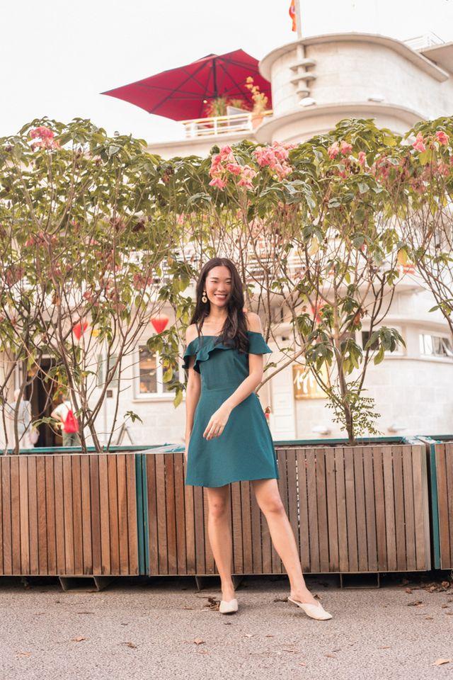 Angelique Ruffles Cold Shoulder Dress in Teal Blue (XS)