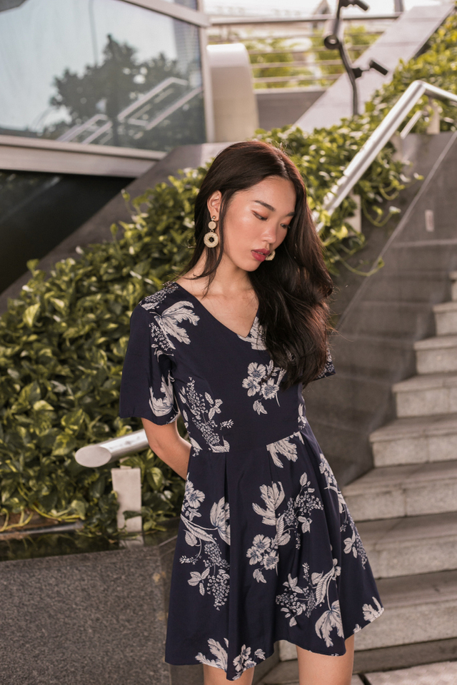 Willow Floral Soft Pleated Dress (XS)