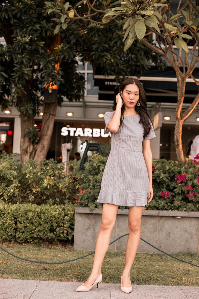 Priela Eyelet Ruffles Dress in Grey (XS)