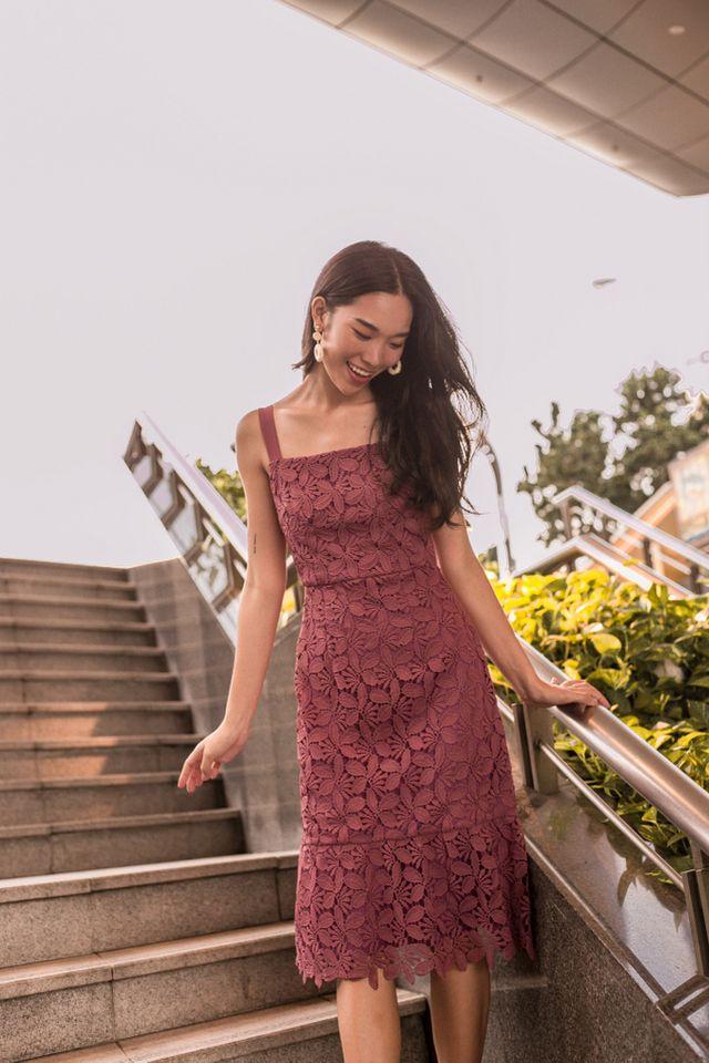 Amoret Crochet Midi Dress in Dark Rose