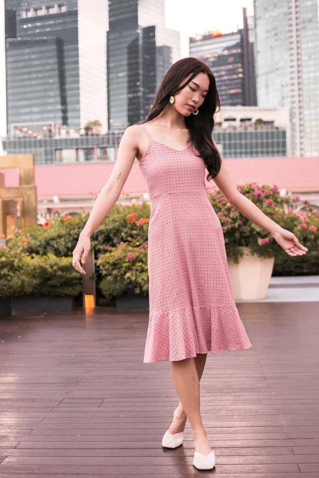 Delta Eyelet Ruffles Dress in Pink
