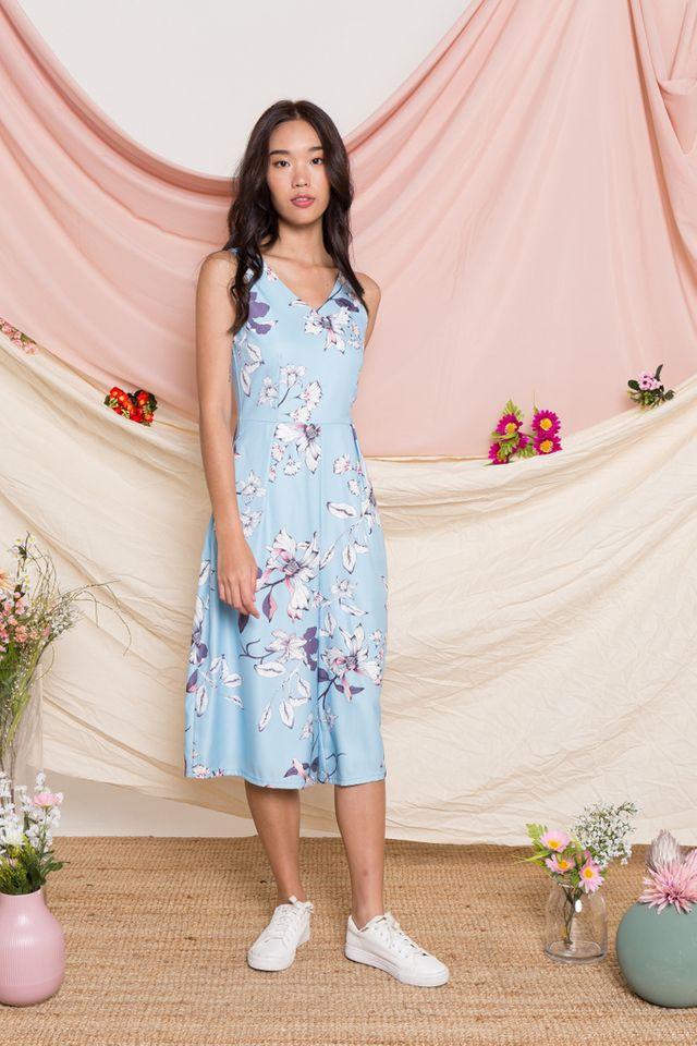 Parthenia Floral Wide Leg Jumpsuit in Light Blue (XS)