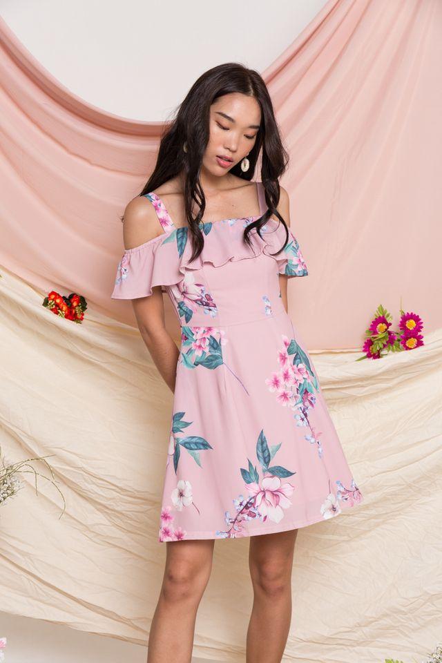 Riona Floral Cold Shoulder Dress in Pink (XS)
