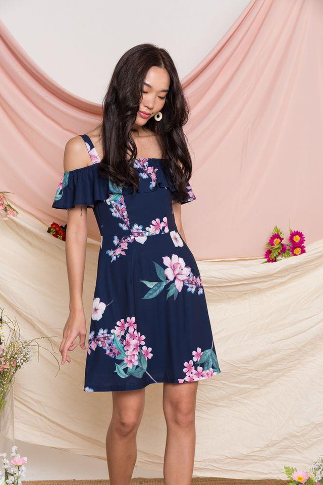 Riona Floral Cold Shoulder Dress in Navy (XS)