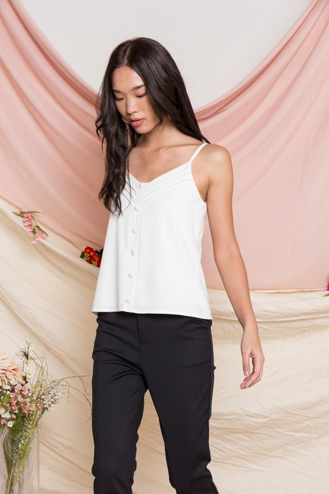 Adelyn Button Top in White