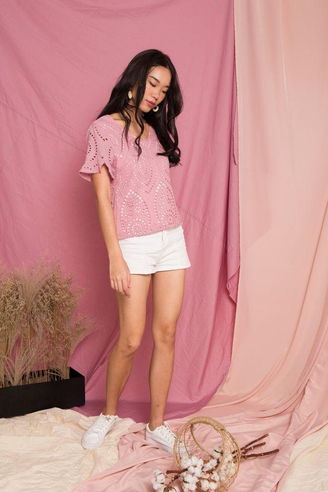 Moriah Eyelet Top in Pink (XS)