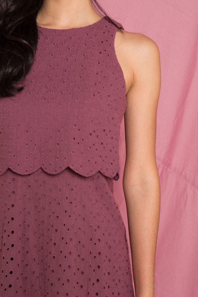 Rosabel Eyelet Overlay Trapeze Dress in Mauve