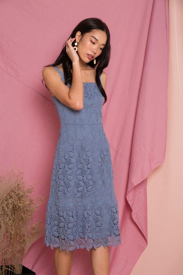 Amoret Crochet Midi Dress in Blue