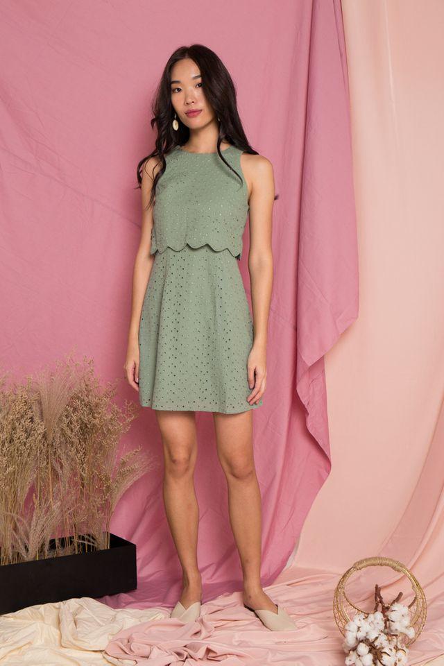 Rosabel Eyelet Overlay Trapeze Dress in Sage (M)