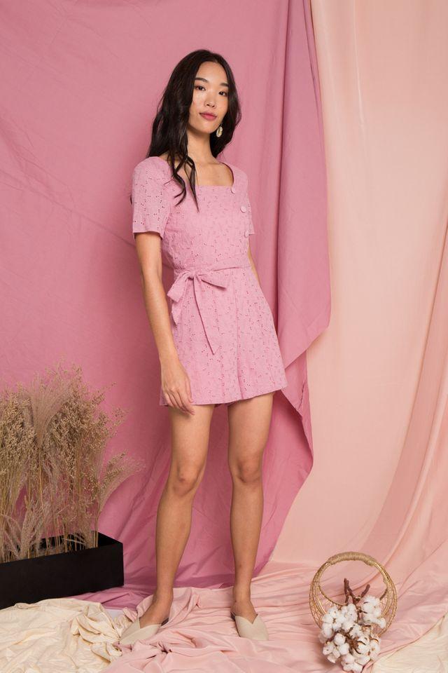 Georgina Eyelet Button Romper in Pink (XS)
