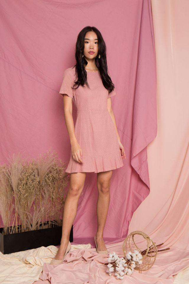 Priela Eyelet Ruffles Dress in Dusty Pink