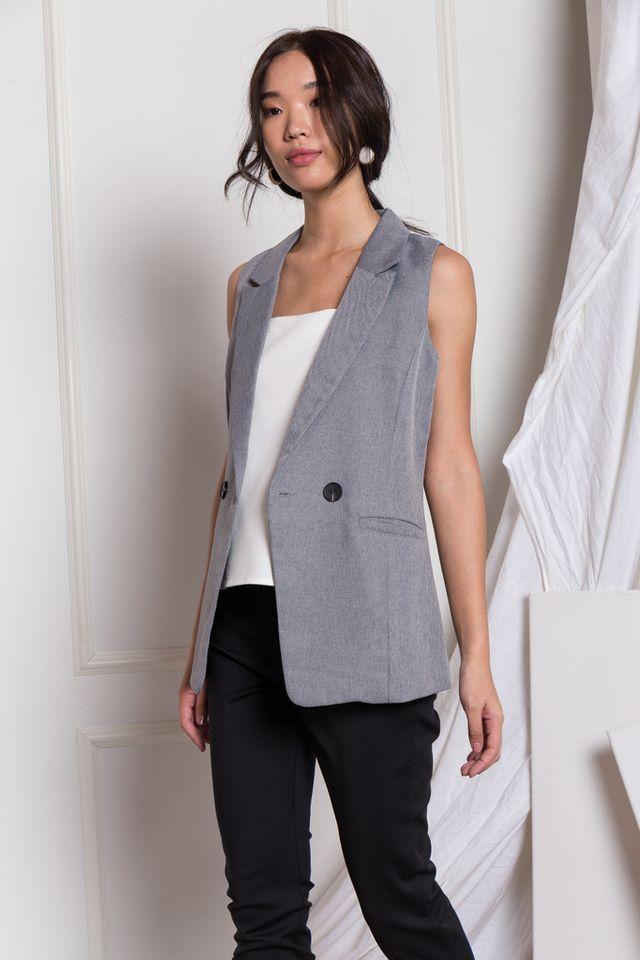 Whitley Textured Vest in Dark Grey