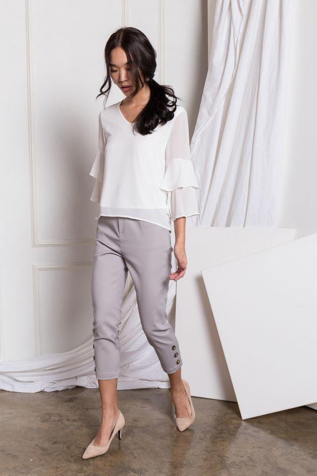 Solana Button Hem Work Pants in Grey