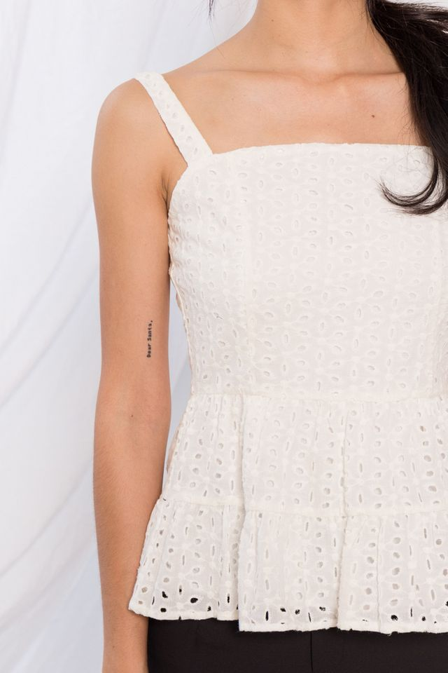Adalia Eyelet Peplum Top in White (XL)