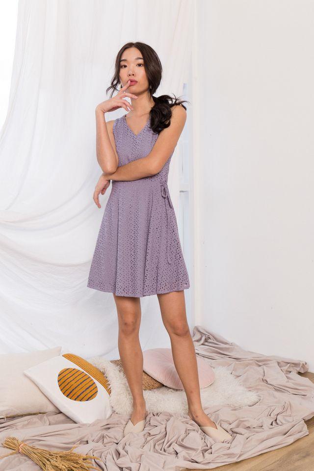 Oriana Floral Eyelet Skater Dress in Lavender