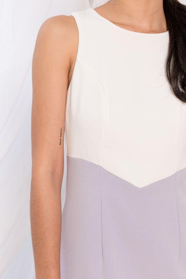 Willa Two-Tone Sheath Dress in Lilac (XL)