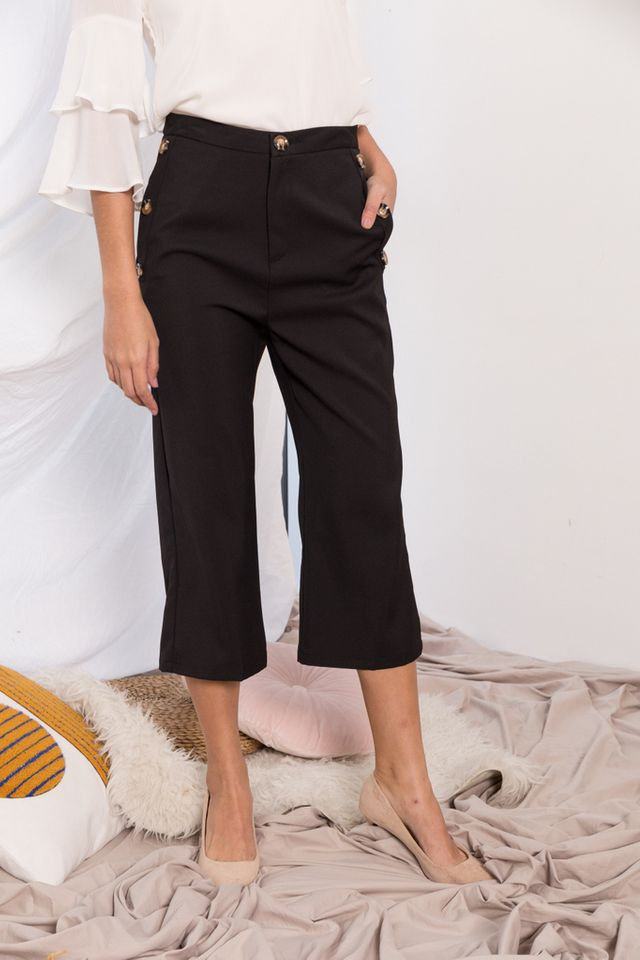 Blanche High Waisted Button Culottes in Black
