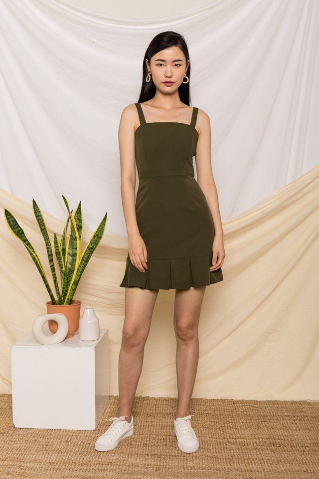 Jessamine Pleated Hem Dress in Olive