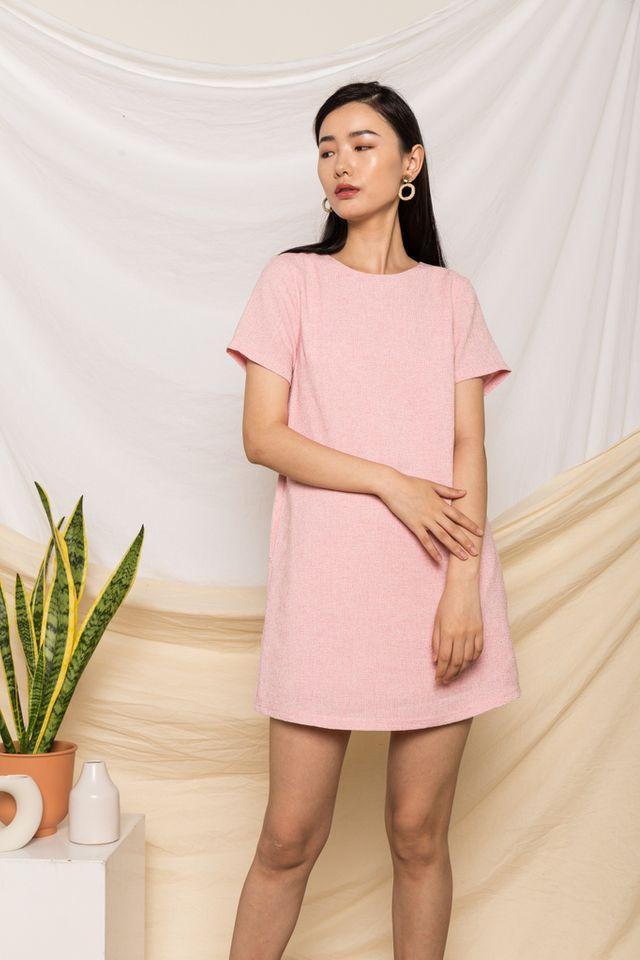 Portia Tweed Shift Dress in Pink