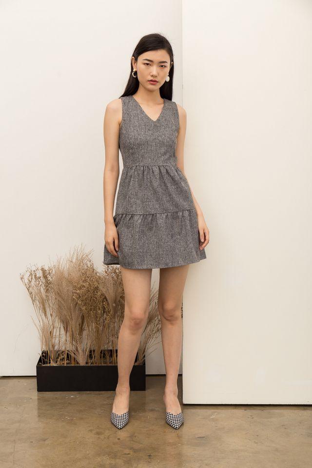 Jobeth Tweed Ruffles Dress in Dark Grey (XL)
