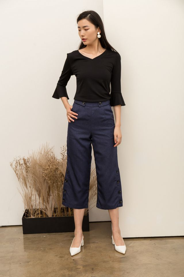 Salerno Tweed High-Waisted Culottes in Navy