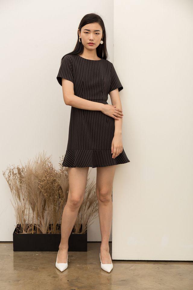 Maliya Striped Ruffles Hem Dress in Black (XS)