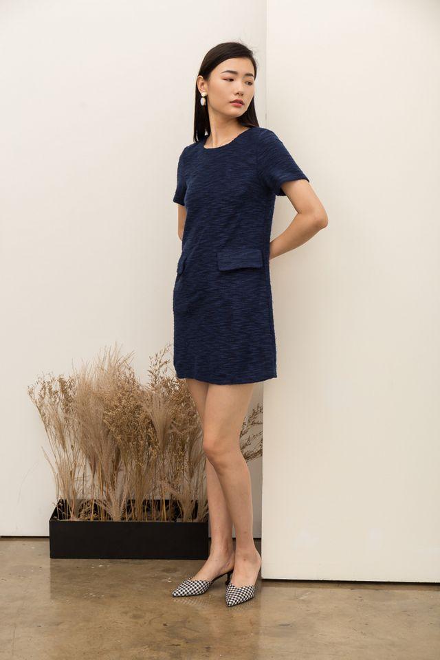 Jadine Textured Shift Dress in Navy (XS)