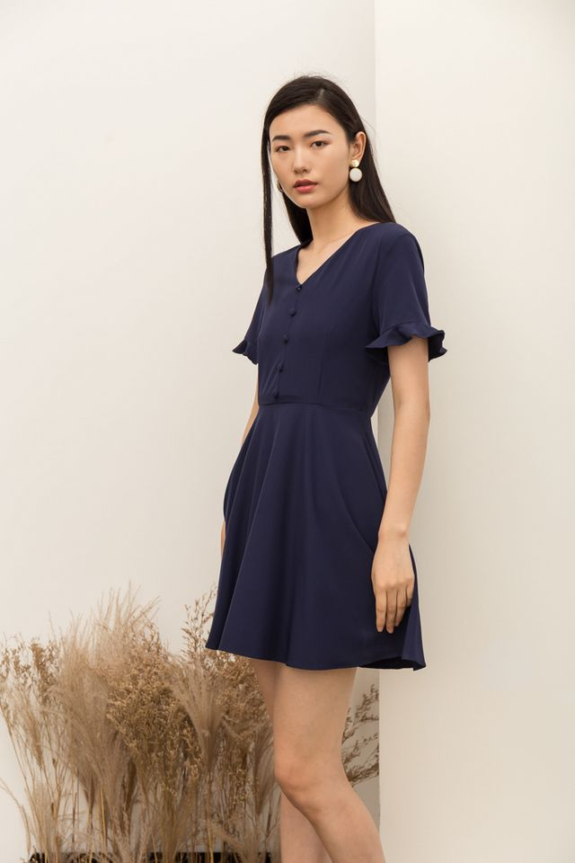 Vivienne Button Flare Dress in Navy (XS)