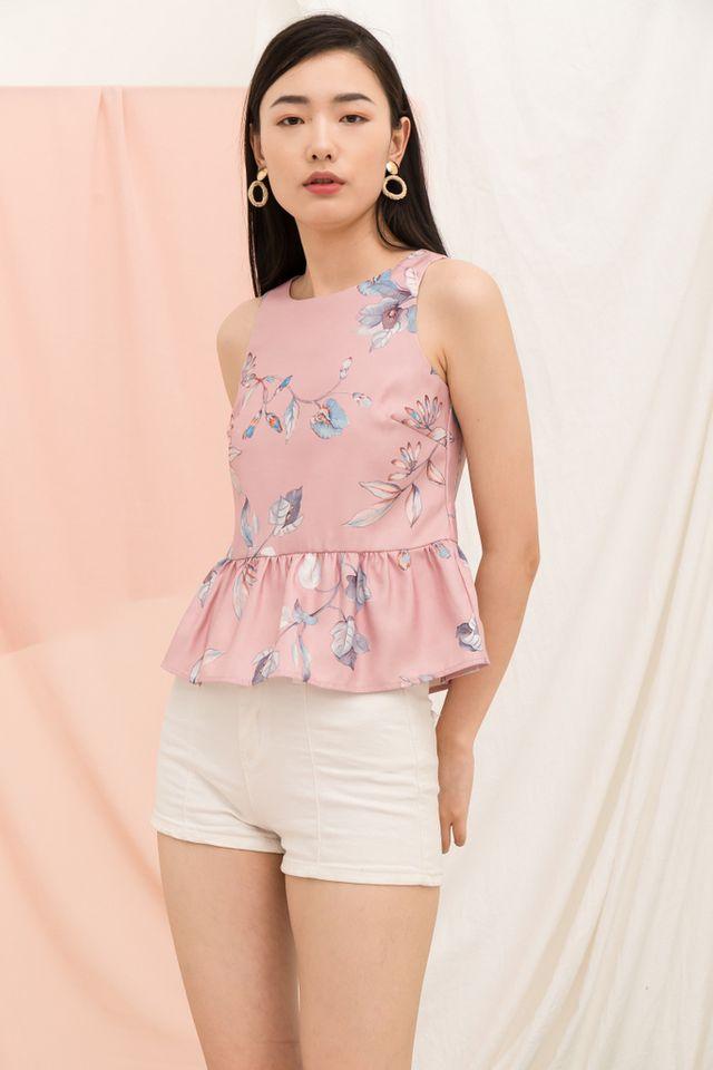 Darya Floral Babydoll Top in Pink (M)