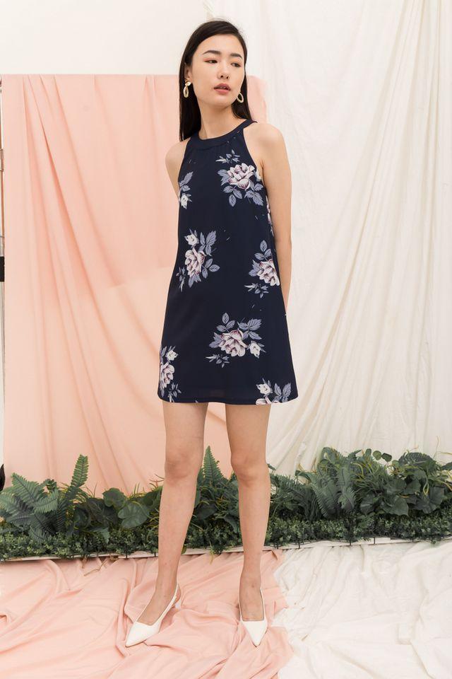 Zelenia Floral Halter Neck Dress in Navy