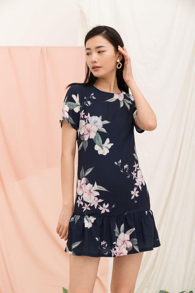 Braedynn Floral Dropwaist Dress in Navy (XS)