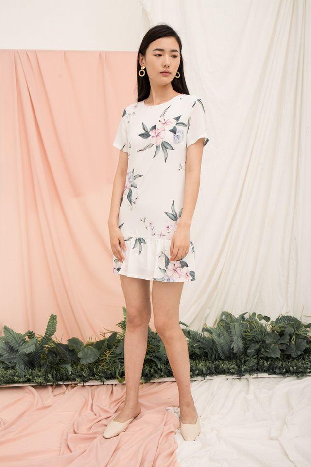 Braedynn Floral Dropwaist Dress in White (XL)