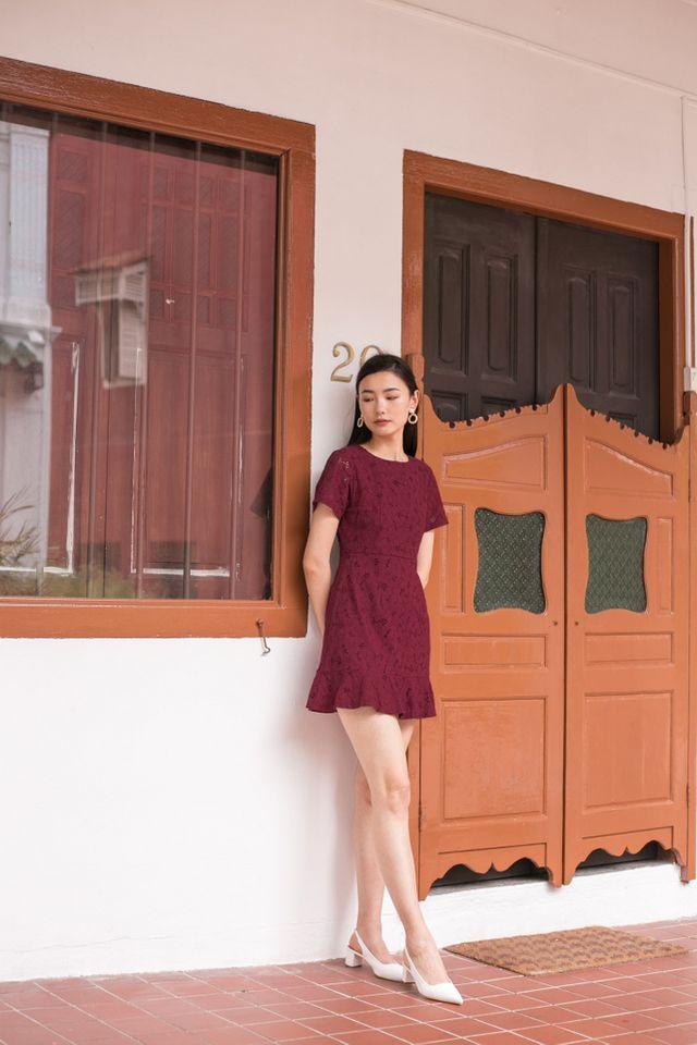Lamarre Floral Eyelet Dress in Plum