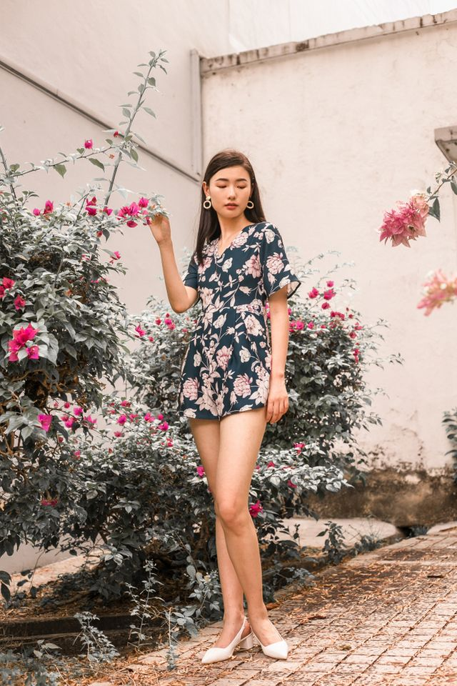 Clare Floral Pleated Romper in Teal