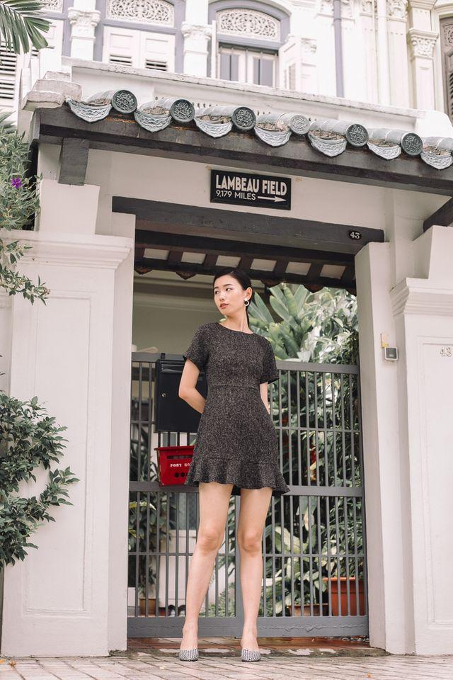 Reeva Tweed Skater Dress in Black