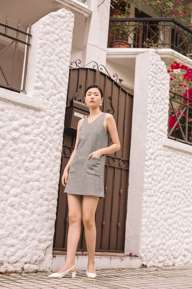 Fausta Tweed Front Pocket Dress in White (XS)