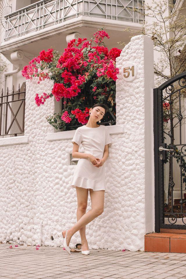 Maliya Striped Ruffles Hem Dress in White