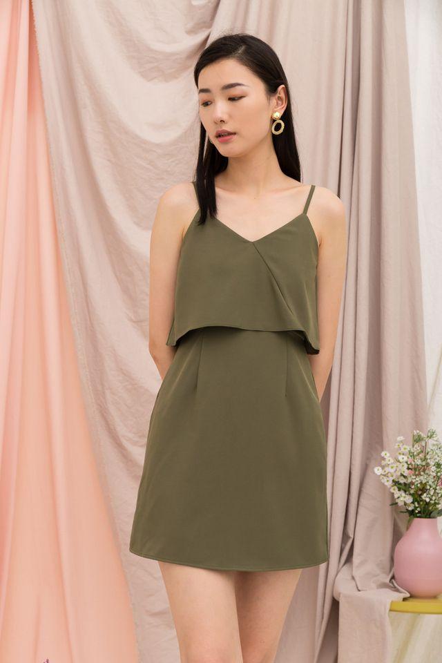 Xera Layered Dress in Olive (L)