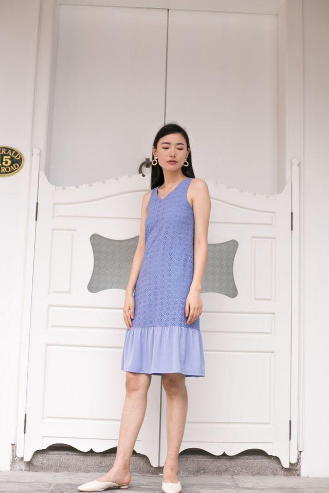 Gavriella Eyelet Embroidery Dress in Cornflower Blue (XS)