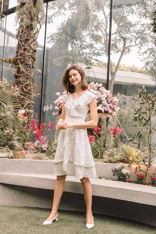 Rachella Sprinkles Overlay Midi Dress in White