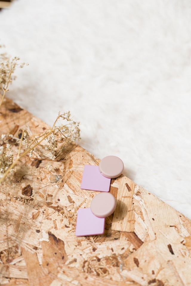 Chesire Geometric Earrings in Pink