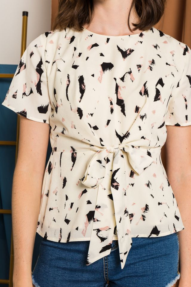 Irena Abstract Ribbon Top in Cream (XS)