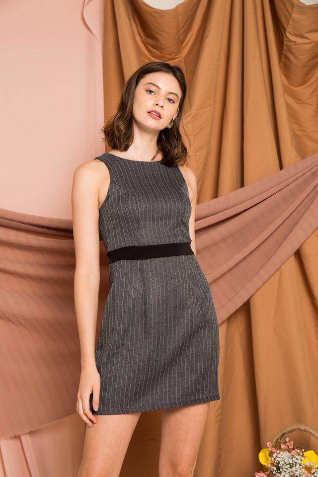 Madisyn Striped Work Dress in Dark Grey