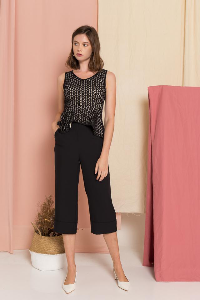 Enya Lace Peplum Top in Black (XS)