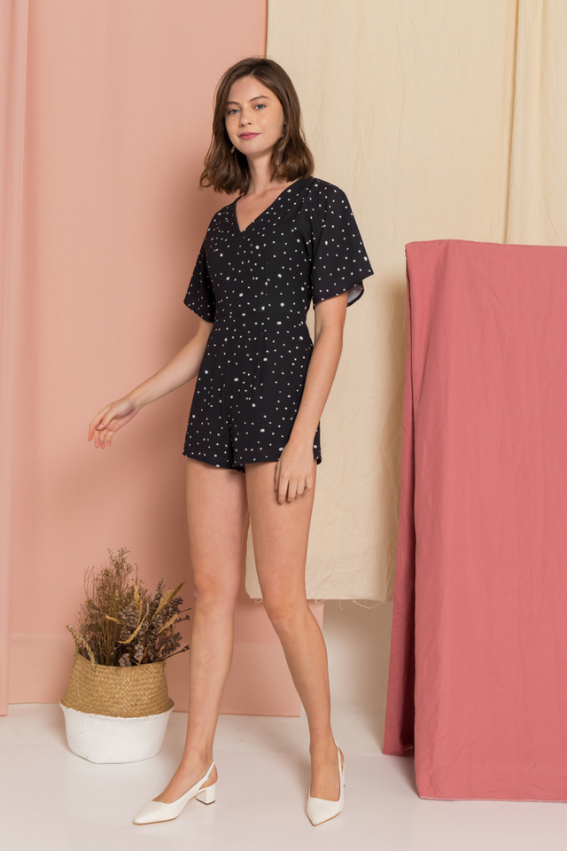 Alayna Dotted Romper in Black (XS)