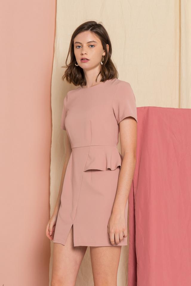 Sloane Peplum Sheath Dress in Dusty Pink (XS)