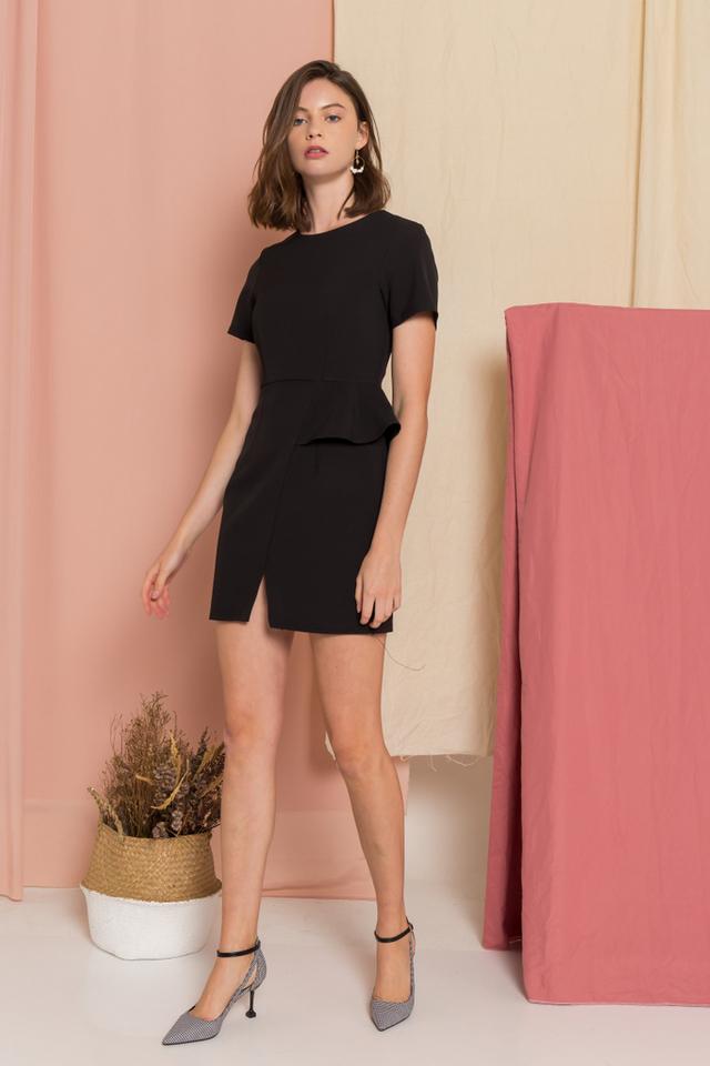 Sloane Peplum Sheath Dress in Black (XS)